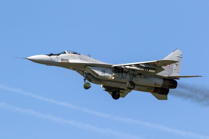 Aereo da caccia polacco del fulcro dell'aeronautica MiG-29 fotografie stock libere da diritti