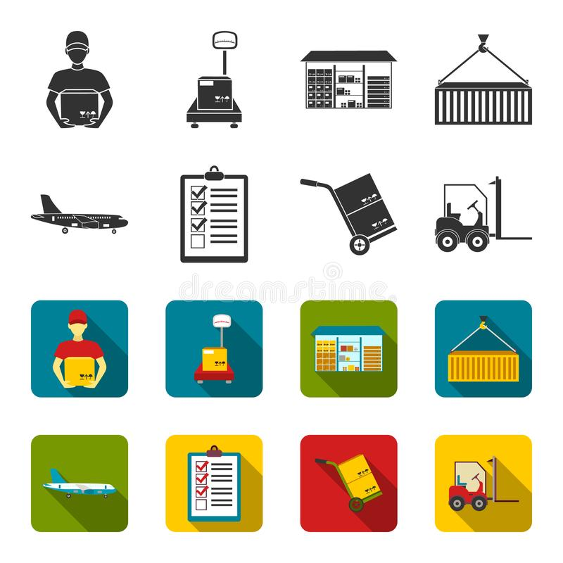 Aereo da carico, carretto per trasporto, scatole, carrello elevatore, documenti Logistico, metta le icone della raccolta nel nero illustrazione di stock