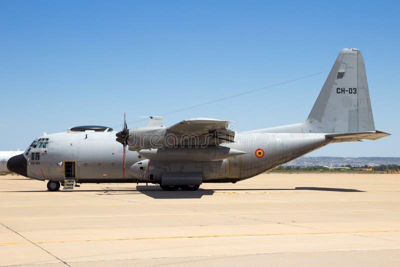 Aereo da trasporto belga dell'aeronautica C-130H Ercole immagine stock libera da diritti