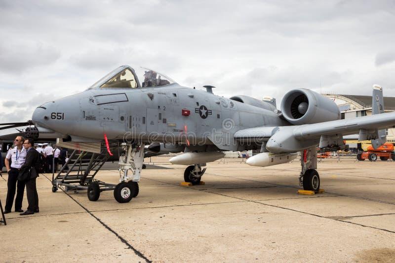 Aereo del bombardiere di colpo di fulmine dell'aeronautica di Stati Uniti A-10 immagine stock libera da diritti