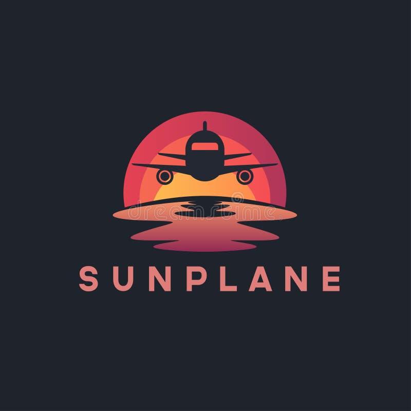 Aereo di aria/ispirazione piana di progettazione di logo di tramonto royalty illustrazione gratis