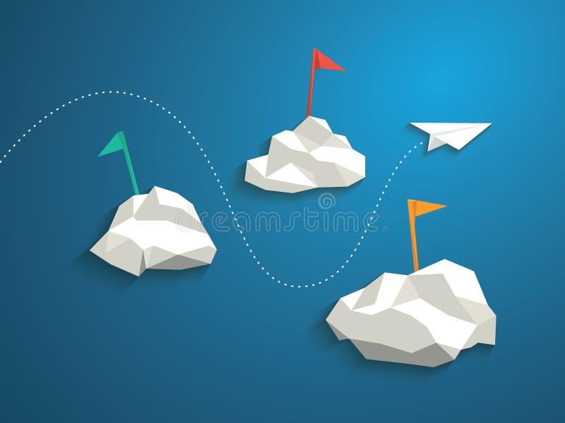 Aereo di carta e nuvole poligonali basse su cielo blu illustrazione vettoriale
