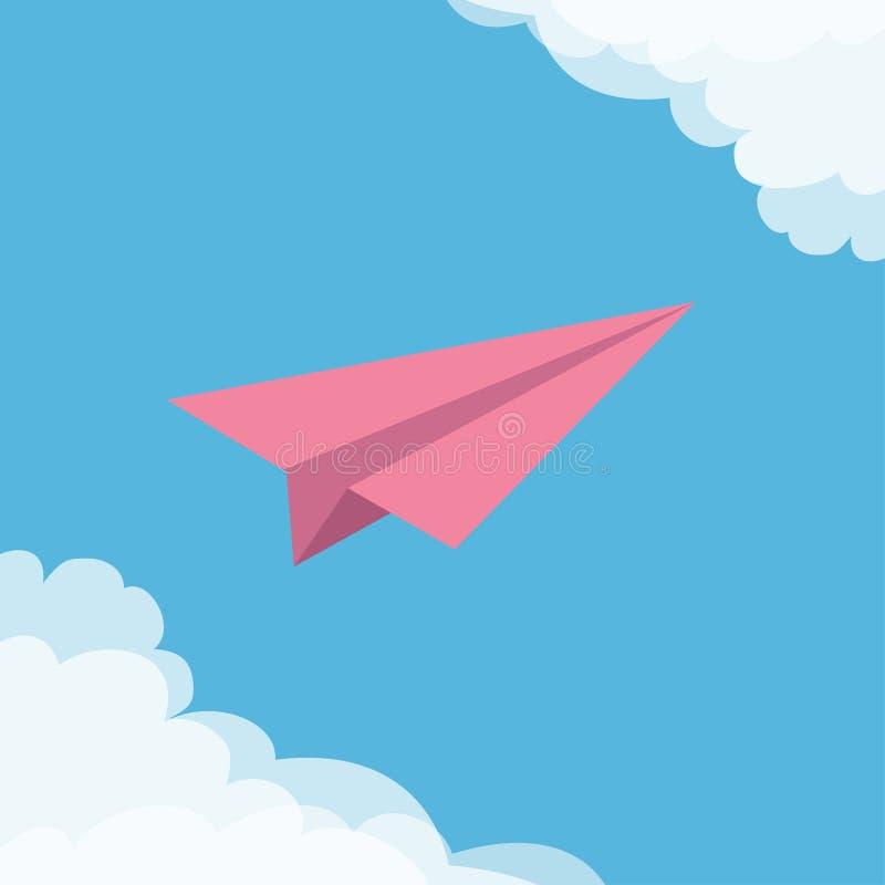 Aereo di carta rosa di origami di volo Nuvola nel telaio degli angoli Raccolta del trasporto Backgroun tipografico del cielo blu  illustrazione vettoriale