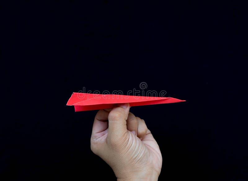 Aereo di carta rosso del gioco fotografie stock libere da diritti