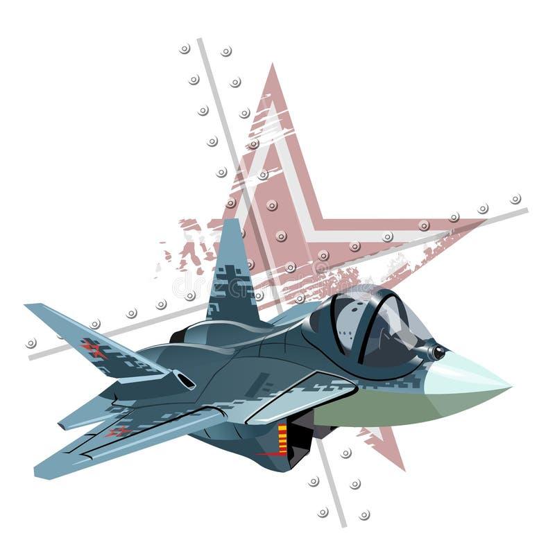 Aereo di combattimento militare moderno del fumetto sul fondo di lerciume illustrazione di stock