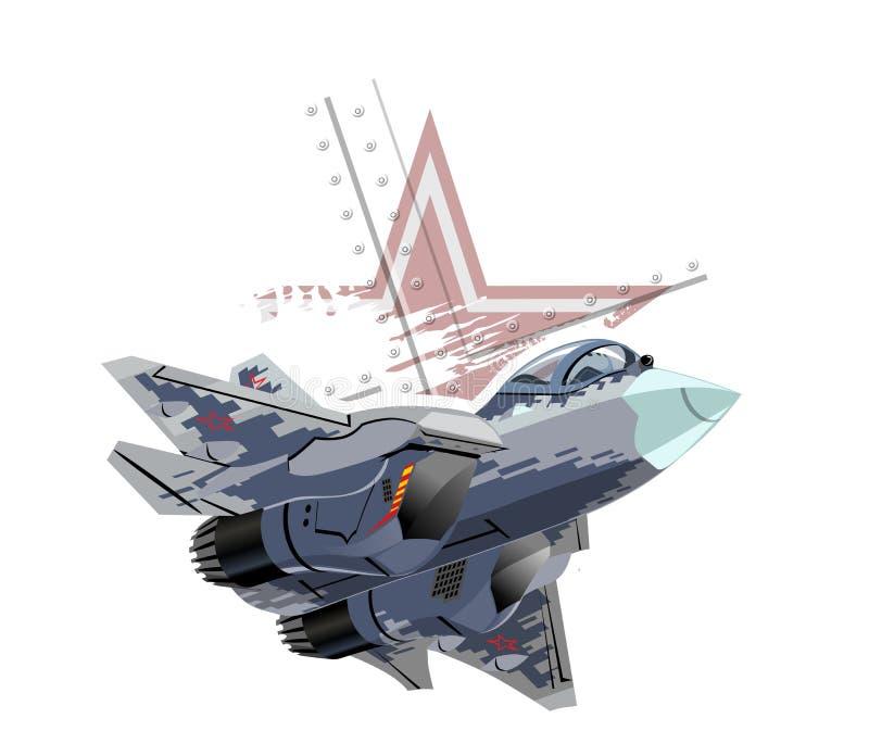 Aereo di combattimento militare moderno del fumetto illustrazione di stock