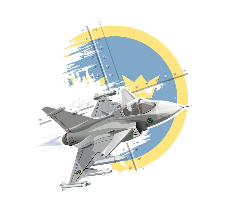 Aereo di combattimento militare moderno del fumetto royalty illustrazione gratis