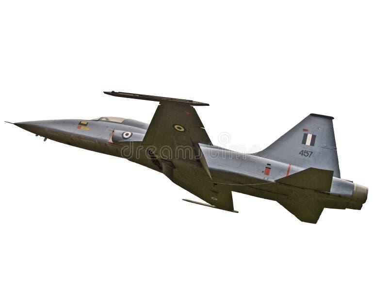 aereo di combattimento su una priorità bassa bianca fotografia stock