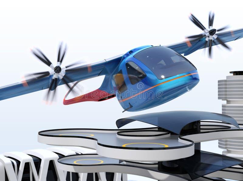 Aereo di linea blu metallico di E-VTOL che decolla da un aeroporto urbano illustrazione vettoriale