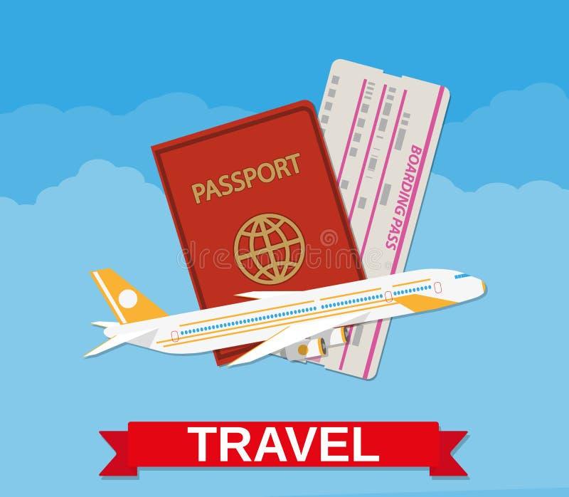 Aereo di linea del getto, passaporto, biglietto del passaggio di imbarco royalty illustrazione gratis