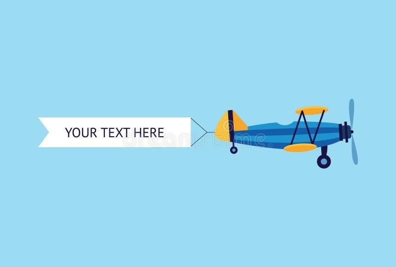 Aereo o biplano con l'illustrazione piana di vettore dell'insegna del nastro isolata sul blu royalty illustrazione gratis