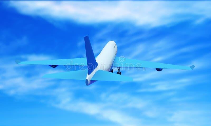 Aereo passeggeri che vola tra le nuvole alte del cielo e vola contro il sole splendente di giorno L'illustrazione in 3D è stata f royalty illustrazione gratis