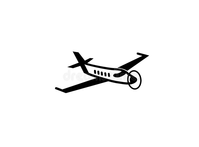 Aereo privato con il fan per l'illustrazione di progettazione di logo, simbolo di trasporto dell'uomo d'affari illustrazione di stock