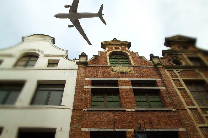 Aereo sopra la città di inclinazione di Bruxelles - spostamento immagini stock libere da diritti