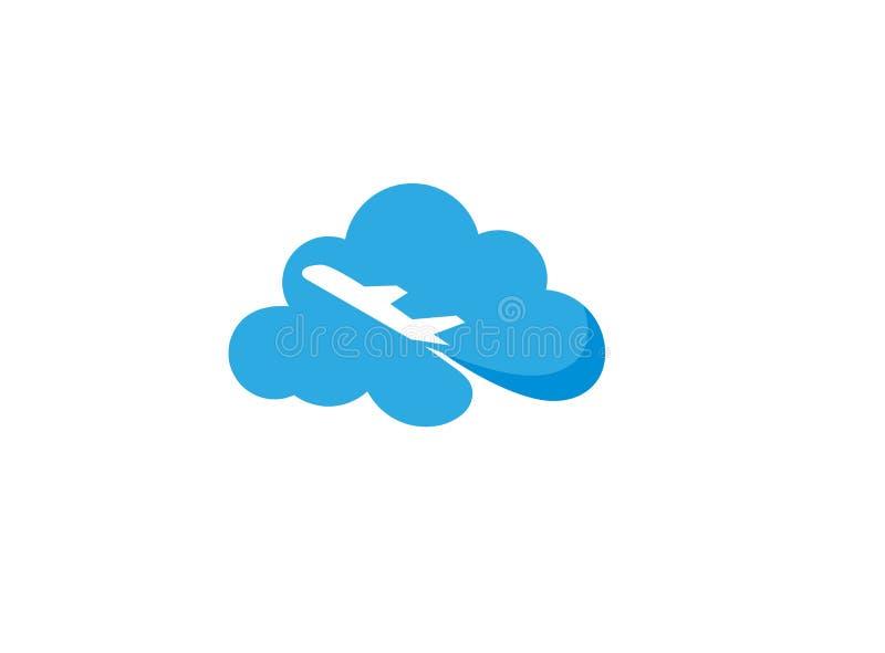 Aereo volante attraverso un grande logo della nuvola illustrazione di stock