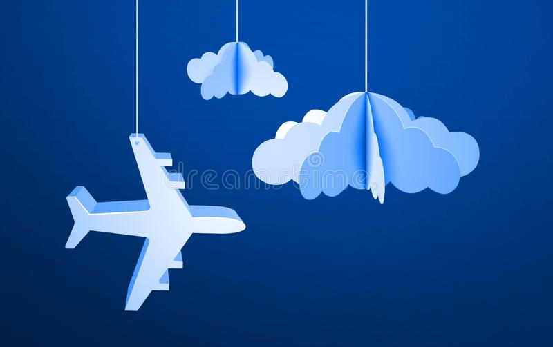 Aereo volante di carta in nuvole di carta tagliate Illustrazione di vettore nello stile di origami su cielo blu illustrazione vettoriale
