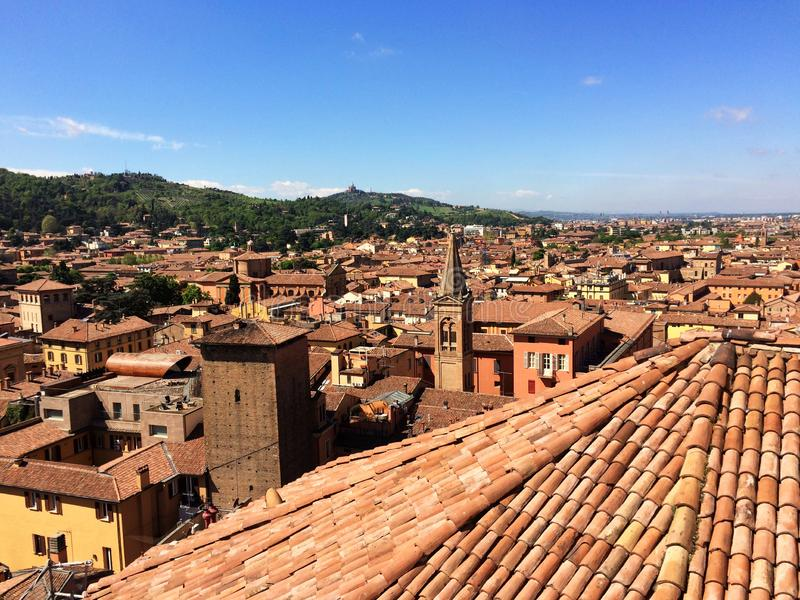 Panoramic view of the rooftops of Bologna, Italy. Aererial view of Bologna, Italy stock photo
