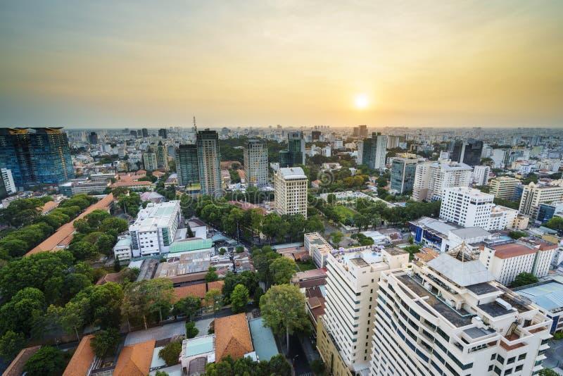 Aeria de Saigon no sunsetl, Vietname imagens de stock royalty free