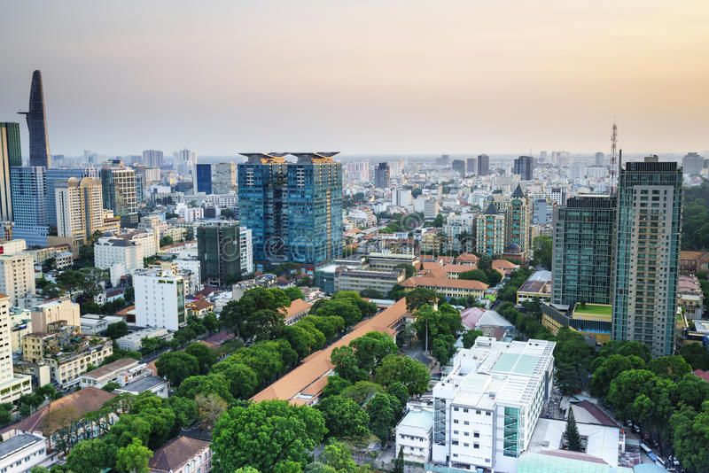 Aeria de Saigon no sunsetl, Vietname foto de stock