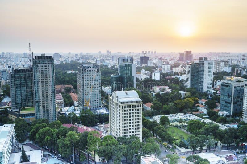 Aeria de Saigon no sunsetl, Vietname fotografia de stock