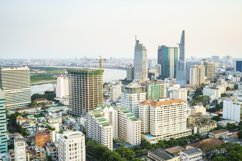 Aeria no por do sol, Vietname de Saigon fotografia de stock