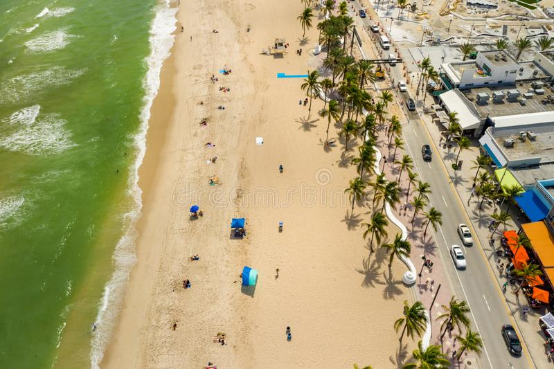Aerial above Fort Lauderdale Beach FL. USA stock image