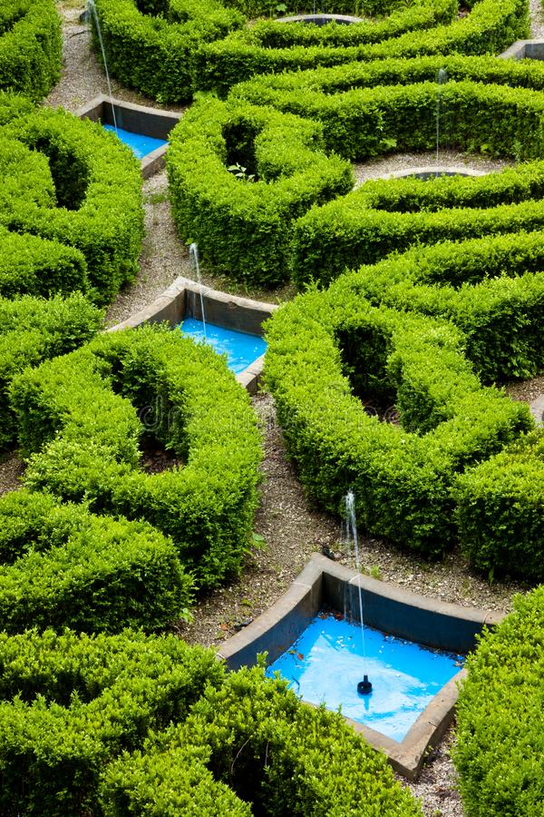 An aerial abstrac view of hedges in a formal garden. An aerial abstrac view of hedges in a formal palace garden royalty free stock image