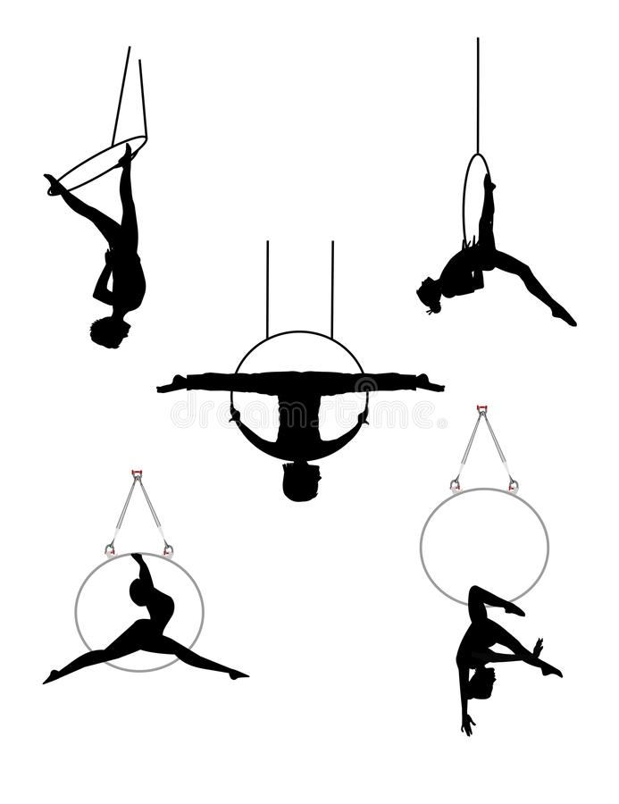 Aerial acrobatic dancers with hoops. Acrobats in mid air using rings and hoops vector illustration