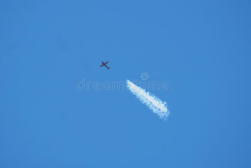 Aerial acrobatics on the day of aviation, lerida royalty free stock photo