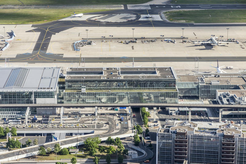 Aerial of airport in Frankfurt royalty free stock images