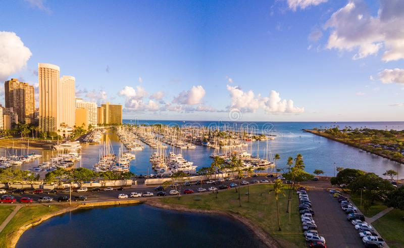 Aerial of Ala Wai Boat Harbor. Aerial view of the famous Ala Wai Boat Harbor in Honolulu stock image