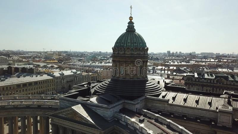 Aerial for amazing cityscape of the Kazan Cathedral in Saint Petersburg, Russia. Dome and columns of beautiful Kazan. Cathedral on clear sky background royalty free stock image