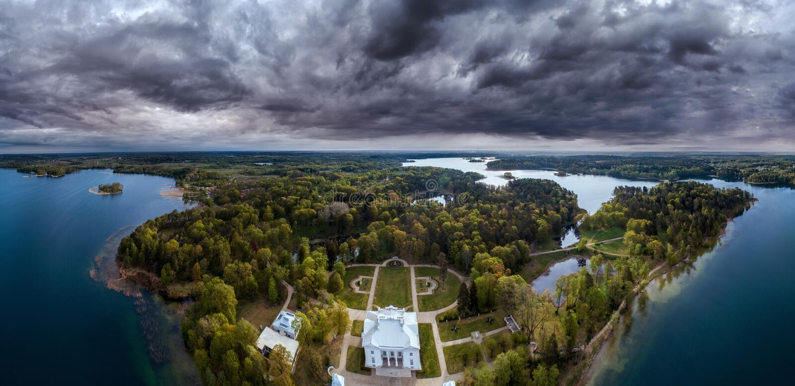Aerial amazing scenic panorama landscape of manor palace near forest royalty free stock photography