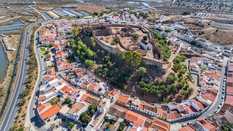 Aerial. Ancient walls of the military settlement of the castle Castro Marim. Portugal stock photo