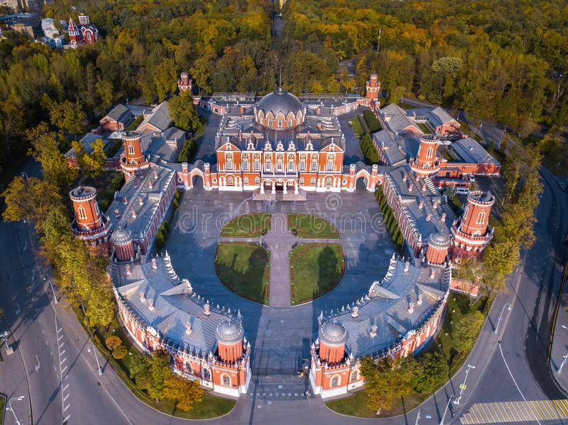 Aerial autumn view of Petroff Palace ,Russia. Petrovsky palace. Moscow. Copter view royalty free stock images
