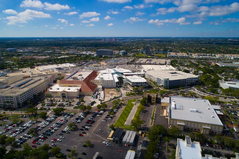 Aerial drone image of Aventura Mall Florida royalty free stock images