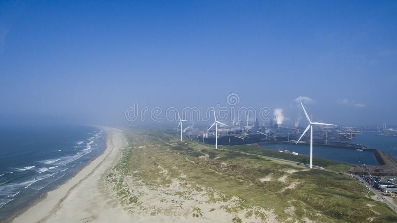 Aerial of a beach in Holland stock images