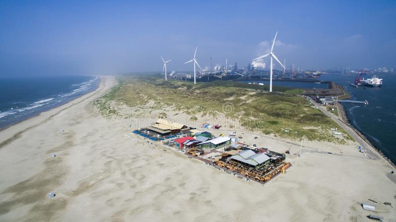 Aerial of a beach in Holland royalty free stock photo