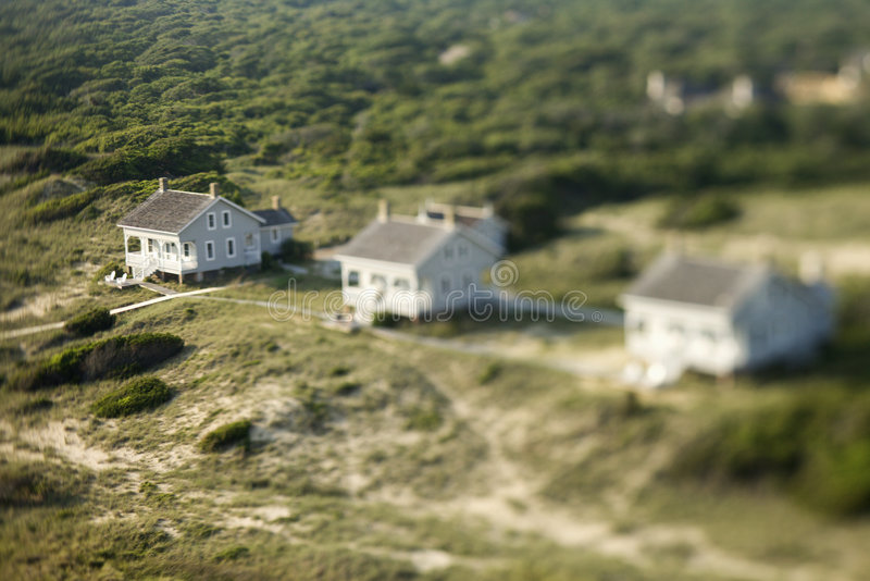 Aerial of beach homes. royalty free stock photography