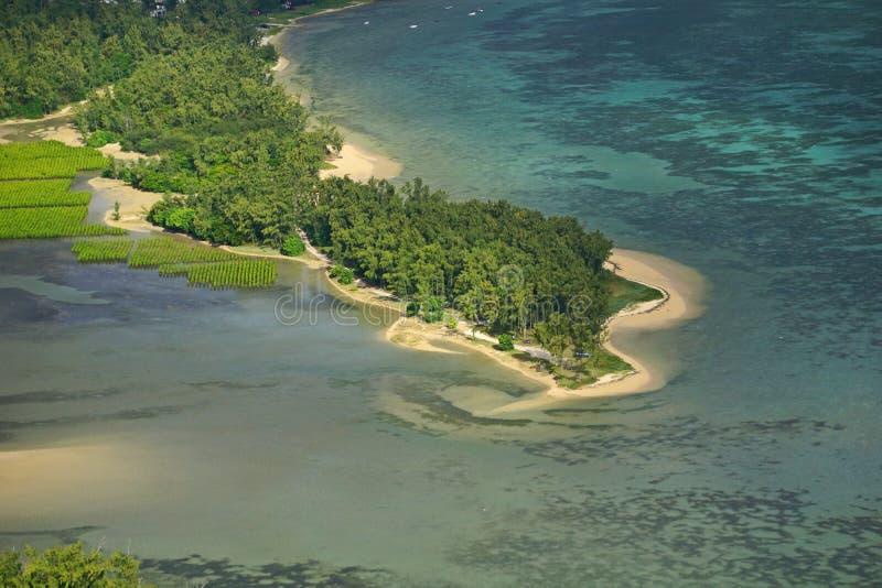Aerial beach Mauritius royalty free stock photos