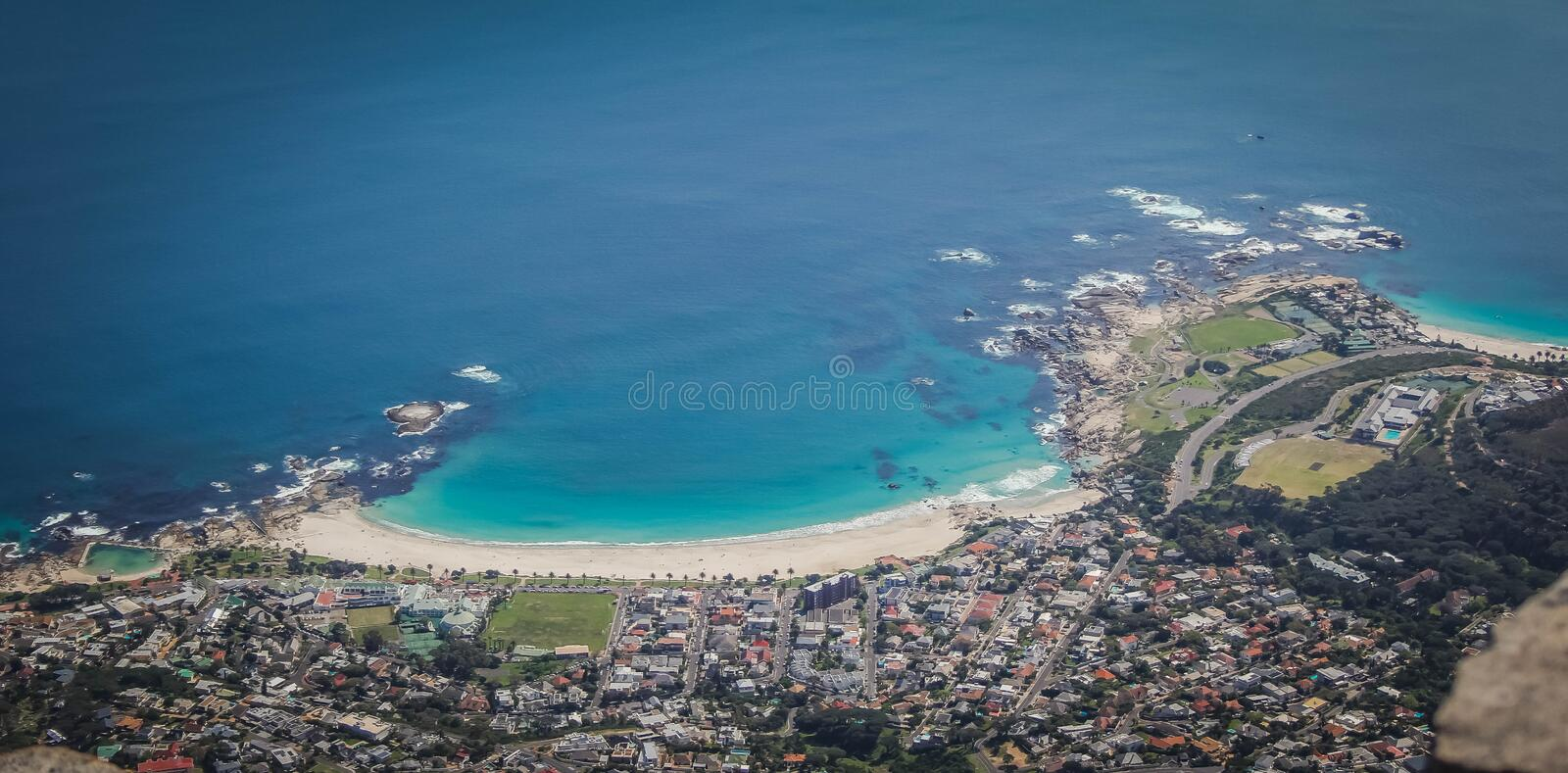 Aerial beautiful shot of the coast of Camps Bay, Cape Town, South Africa stock photography
