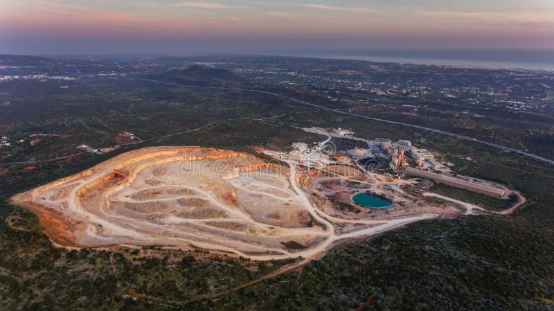 Aerial. Big stone quarry aerial view. Loule Portugal. Aerial. Big stone quarry aerial view. Loule Portugal royalty free stock image
