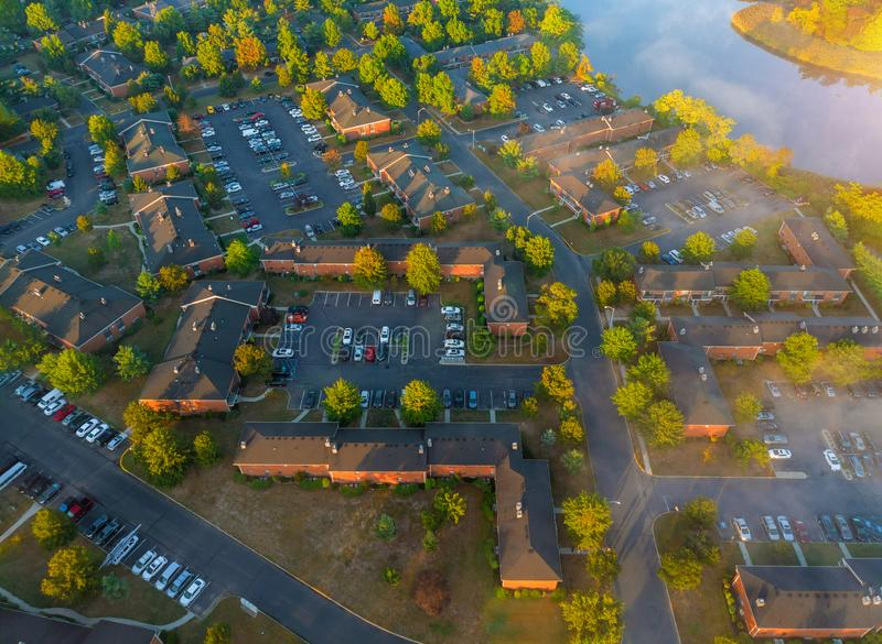 Aerial bird eye view houses of low rise houses in quite sleep area in middle class community a beautiful foggy morning royalty free stock images