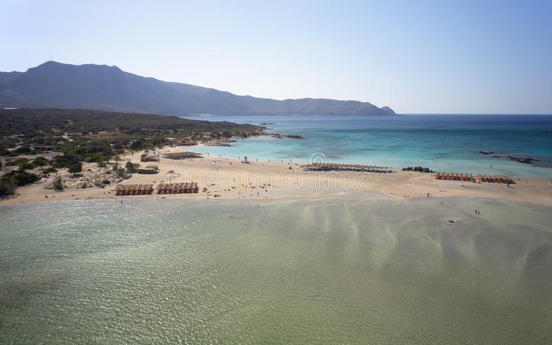 Aerial bird\'s-eye view from drone on Elafonisi sandy beach on Crete.  Greece. Aerial bird\'s-eye view from drone on Elafonisi sandy beach on Crete. Elafonissi stock images