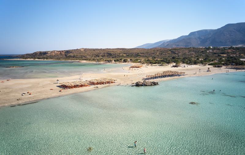 Aerial bird\'s-eye view from drone on Elafonisi sandy beach on Crete.  Greece. Aerial bird\'s-eye view from drone on Elafonisi sandy beach on Crete. Elafonissi stock image