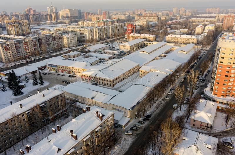 Aerial bird view of Shopping center.Tyumen.Russia royalty free stock image