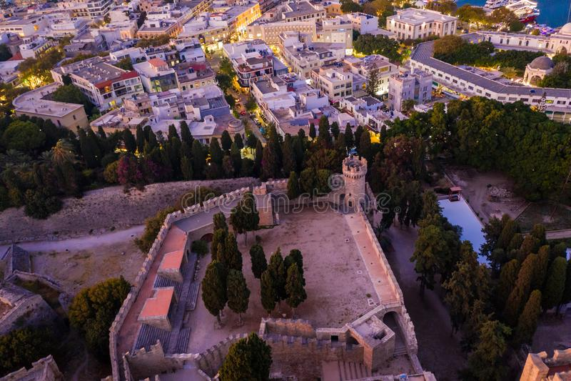 Aerial birds eye view photo taken by drone of Rhodes island old fortified town, popular tourist destination, Dodecanese, Aegean,. Aerial birds eye view photo stock photo