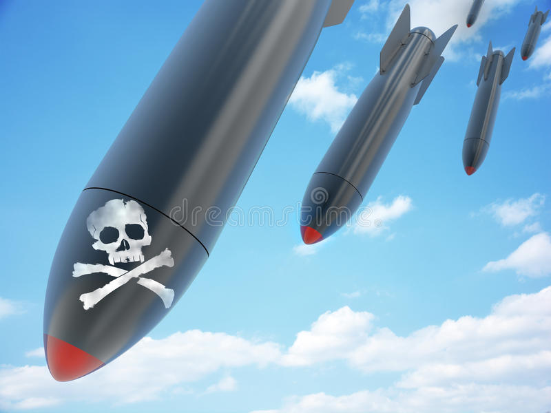 Aerial bomb and sky. (done in 3d stock illustration