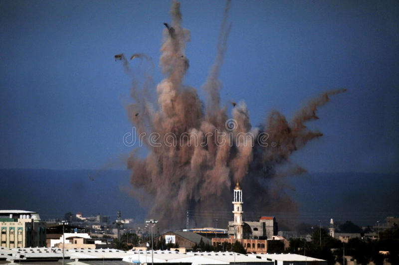 Aerial bombing in Gaza Strip. GAZA STRIP - JANUARY 14: Aerial bombing explosion in Gaza Strip during Cast Lead operation on January 14 2009. It was a three-week