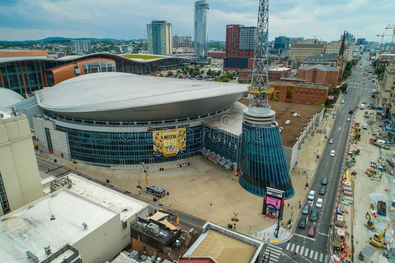 Aerial Bridgestone Arena Nashville Tennessee stock photo